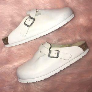 Birkenstock Shoes - Birkenstock white leather soft footbed clogs